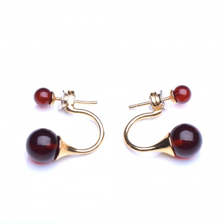 Gold Platted Silver Sterlin Stud Earings with Baltic Amber Spherical Beads - Genuine Cherry Amber Earings