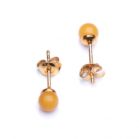Gold Platted Sterling Silver Stud Earings with Baltic Amber - Butterscotch Spherical Beads Genuine Amber Earings