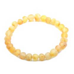 Baltic Amber Bracelet - Raw Honey Amber Unisex Bracelet - Genuine Baltic Amber Beads