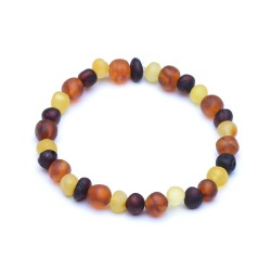 Colorful Raw Amber Bracelet - Unisex Amber Bracelet - Genuine Baltic Amber
