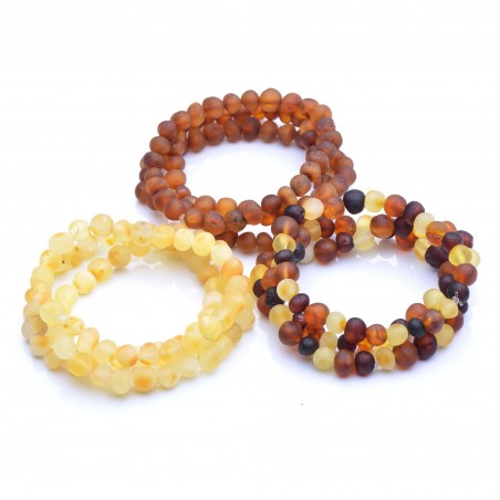 Genuine Baltic Amber Wholesale - 9 Raw Amber Bracelets - 100% Authentic BAltic amber