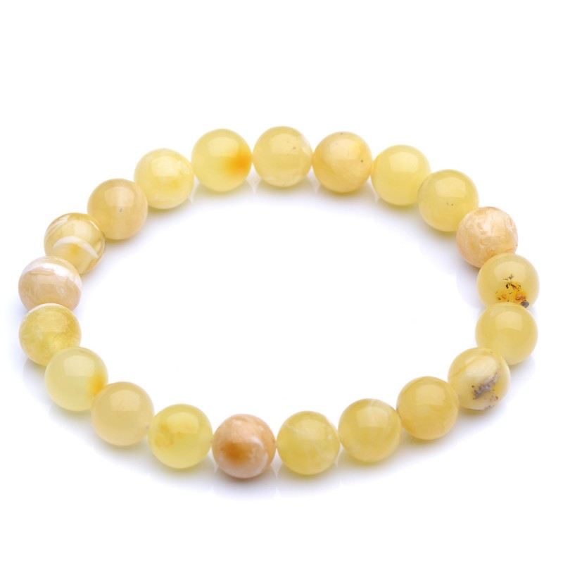 Round beads amber bracelet - Colorful Genuine Baltic Amber - Handmade Amber Jewelry