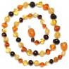 Colorful Handmade Baltic Amber Teething Necklace - Genuine Amber - Safety knotted