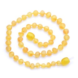 Lemon Amber Teething Necklace - Baltic Amber Necklace for Babies - Authentic Amber