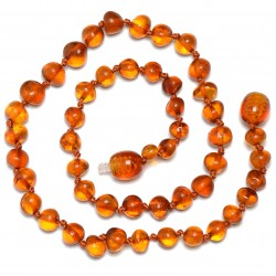 Handmade Baltic Amber Teething Necklace for Babies - Safety Knotted - Genuine Amber
