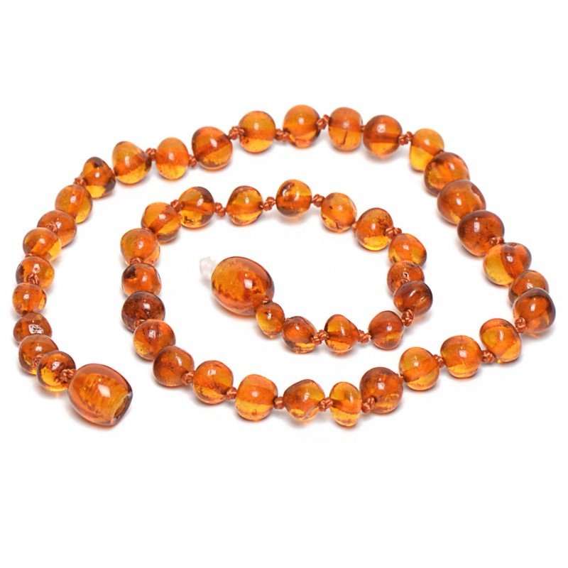 Hand Made Baltic Amber Teething Necklace for Babies - Safety Knotted - Genuine Amber
