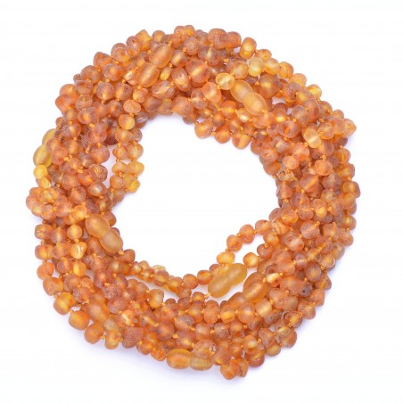 Amber Wholesale - Cognac Color Handmade Baltic Amber Teething Necklaces for Babies - Safety Knotted - Genuine Amber