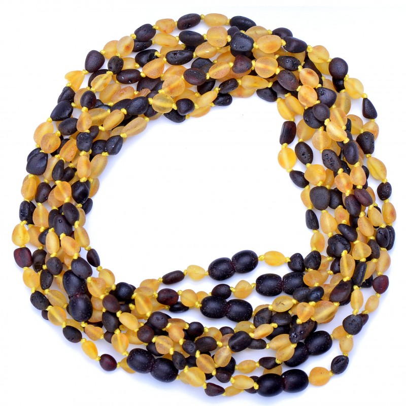 Amber Wholesale - Hand Made Baltic Amber Teething Necklaces for Babies - Safety Knotted - Beans Shape - Raw