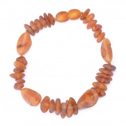 Cognac Casual handmade amber bracelet - 100% Genuine Raw Baltic Amber Beads