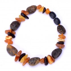 Casual handmade Baltic Amber Bracelet for Adult - 100% Genuine Raw Amber Beads
