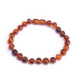 Stylish handmade Cognac Amber Bracelet for Adult - 100% Genuine Amber Beads