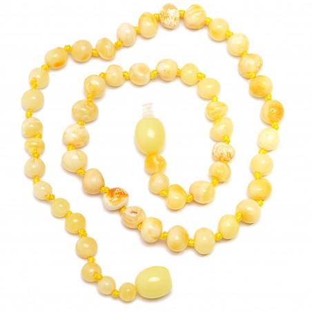 Handmade Baltic Amber Teething Necklace for Babies - Safety Knotted - Royal Butter Amber
