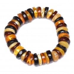 Colorful Casual Amber Bracelet for Woman - Handmade Baltic Amber Jewelry - Elastic - Comes with Certificate