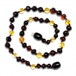 Handmade Baltic Amber Teething Necklace for Babies - Safety Knotted