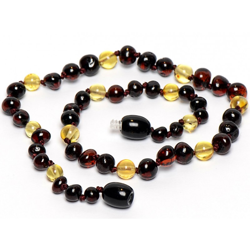 Hand Made Baltic Amber Teething Necklace for Babies - Safety Knotted