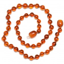 Baltic Amber Handmade Teething Necklace for Babies - Safety Knotted - Genuine Amber