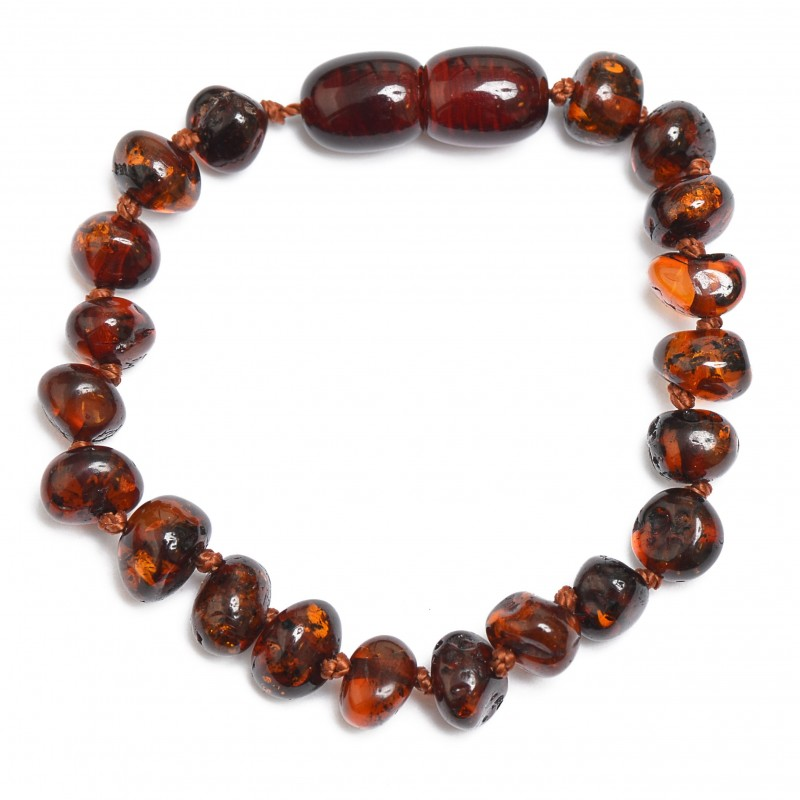 Amber Handmade Teething Bracelet - Anklet for Baby - Safety Knotted - Genuine Baltic Amber - Cherry Color