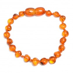 Handmade Amber Teething Bracelet - Anklet for Baby - Safety Knotted - Genuine Baltic Amber