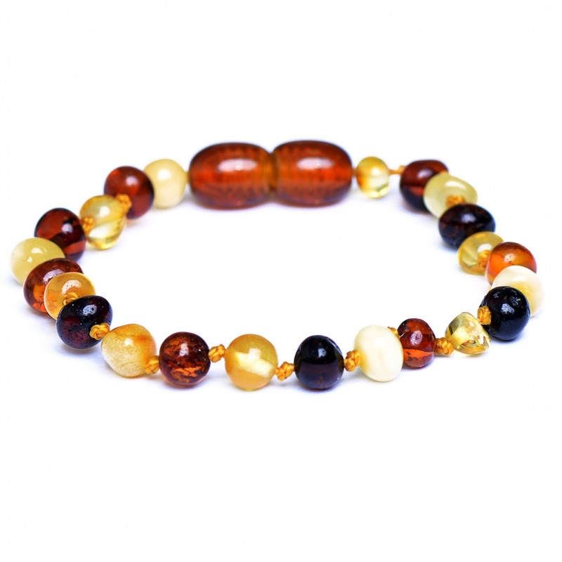 Colorful handmade Amber Teething Bracelet - Anklet for Baby - Safety Knotted - Genuine Baltic Amber