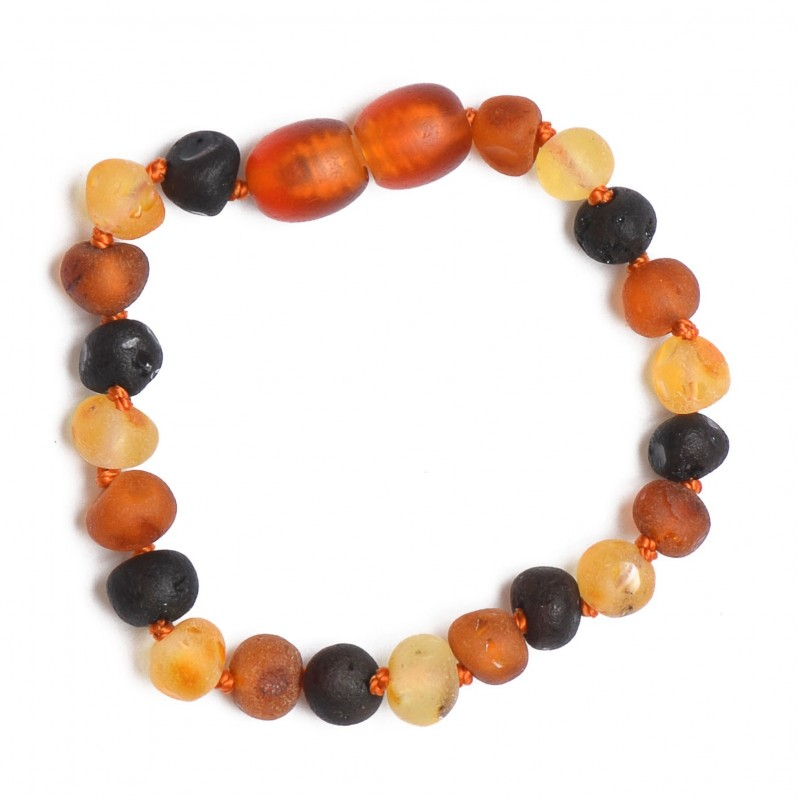 Amber Teething Handmade Bracelet - Anklet for Baby - Safety Knotted - Raw Genuine Baltic Amber