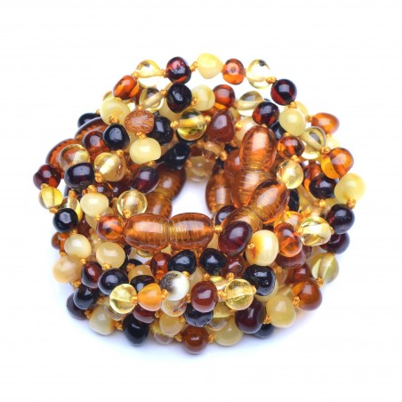 Wholesale Amber - 10 Teething Handmade Bracelets - Anklets for Baby - Safety Knotted - Genuine Baltic Amber