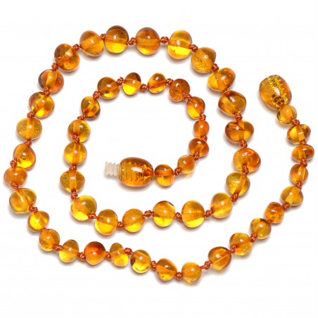 Handmade Baltic Amber Teething Necklace for Baby - Safety Knotted - Genuine Amber