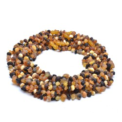 Vintage Colorful Amber Necklace for Adult - 100% Genuine Amber Beads