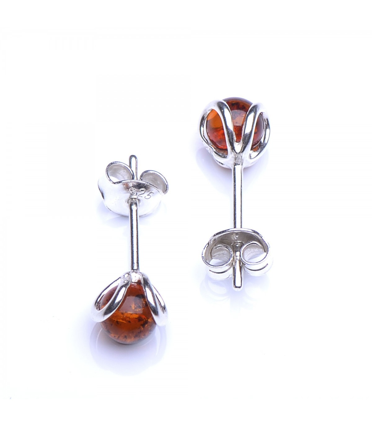 d391afd65 Cognac Baltic Amber & Sterling Silver Stud Earings - Spherical ...